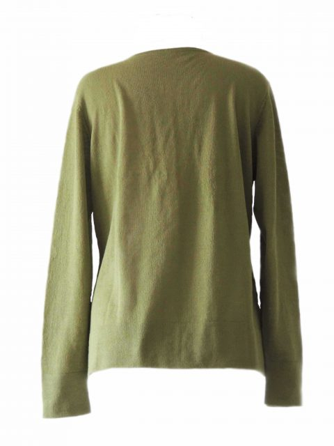 PFL knitwear, fine knitted classic cardigan, green with crewneck and mother of pearl button closure, in baby alpaca.