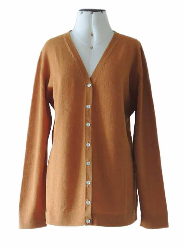 PFL knitwear, fine knitted classic cardigan,  color mustard with V-Neck and mother of pearl button button closure in baby alpaca