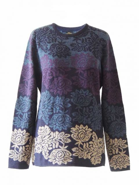 PFL Knitwear Sweater Georgina with flower pattern 001-01-2124-01
