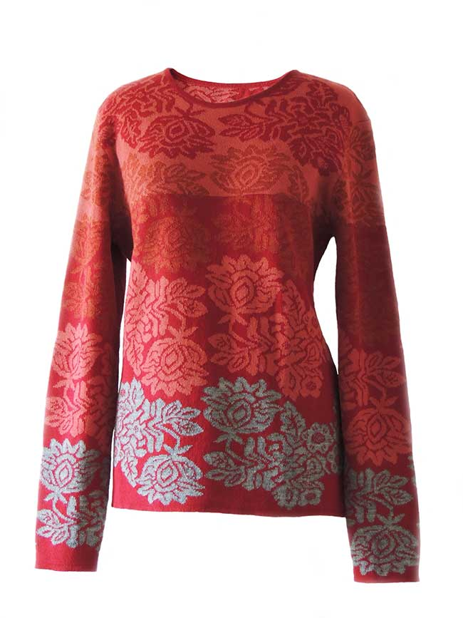 PFL Knitwear Sweater Georgina with flower pattern 001-01-2124-02