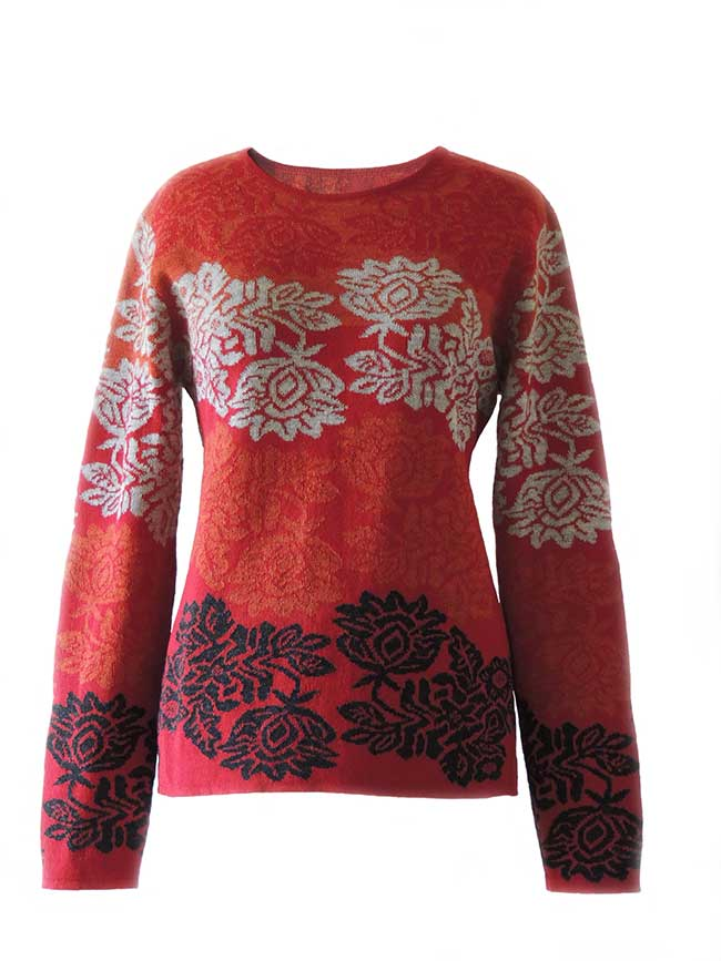 PFL Knitwear Sweater Georgina with flower pattern 001-01-2124-04
