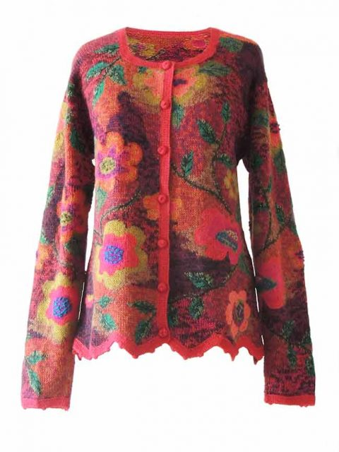 Alpaca Intarsia knitted cardigan Wanda flowers red multi color | PopsPlaza