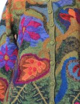 Alpaca Intarsia knitted cardigan Wanda flowers green multi color