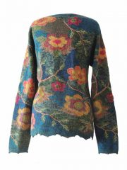 Alpaca Intarsia knitted cardigan Wanda flowers blue multi color | PopsPlaza