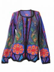 Alpaca Intarsia knitted cardigan Petra multi color flowers