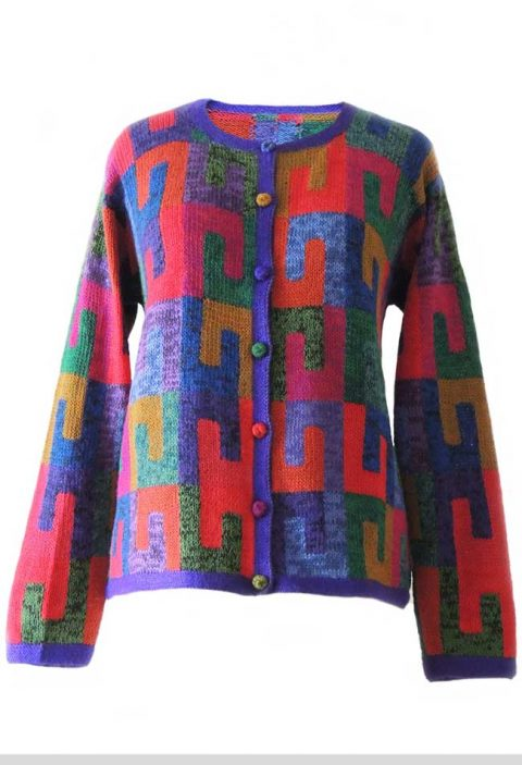 Alpaca Intarsia knitted cardigan Millie graphic red multi color