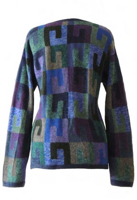 Alpaca Intarsia knitted cardigan Millie graphic blue multi color | PopsPlaza