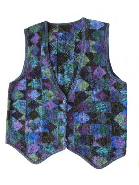 Alpaca Intarsia knitted sleeveless cardigan Millie graphic blue multi color | PopsPlaza