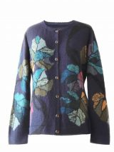 PFL Knitwear Ladies alpaca handmade cardigan Donita version, navy blue with colorful flowers