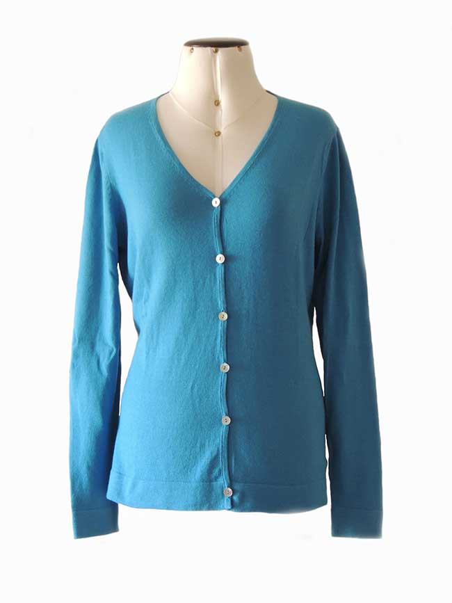 Cardigan Luana baby alpaca - tanguis cotton blue.