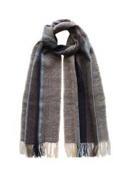 PFL scarf, soft stripes baby alpaca brown-blue-gray