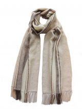 PFL scarf, soft stripes baby alpaca creme-brown-camel