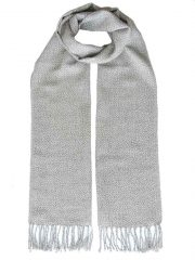 PFL knitwear scarf baby alpaca grey melange with twisted fringes.
