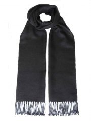 PFL knitwear scarf baby alpaca solid color black with twisted fringes.
