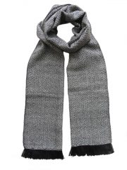 PFL knitwear Scarf with herringbone pattern, dark blue, baby alpaca with fringes.