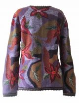 PFL Knits Intarsia knitted cardigan with floral pattern, red