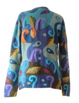 PFL Knits Intarsia knitted cardigan with leaf pattern, blue