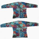 PFL Knits Intarsia knitted cardigan with floral pattern, blue.