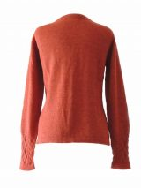 PFL knitwear, cardigan Angee baby alpaca orange with cable pattern and crew neck, 100% alpaca