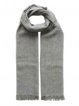 PFL woven scarf baby alpaca gray melange with fringes.