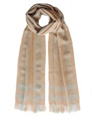 PFL knitwear Scarf, baby alpaca crossed lines with fringes 4 cm unisex camel - gray.
