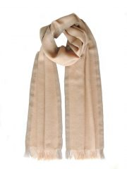 PFL scarf, baby alpaca camel with brown contrasting edges.