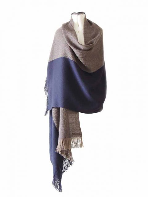 Shawl / Stole , hand loomed in soft. warm baby alpaca 100%, in warm fall-winter colors blue and taupe