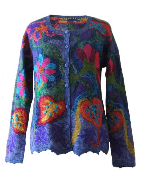 PFL knitwear Cardigan alpaca, women's sweater intarsia knitted with colorful pattern, 100% alpaca handcrafted