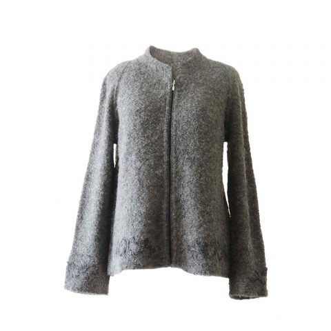 Women's cardigan boucle alpaca, women's sweater boucle alpaca gray with embroided details and zipper closure standing collar