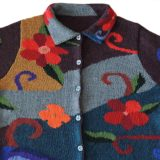 Cardigan alpaca, women's sweater intarsia knitted with colorful pattern, 100% alpaca handcrafted