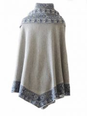 Poncho / cape, 100% baby alpaca with big cowl collar with ethnic pattern