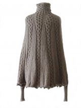 PFL Knitwear Fine hand knitted poncho / cape with cable pattern 100% baby alpaca Taupe