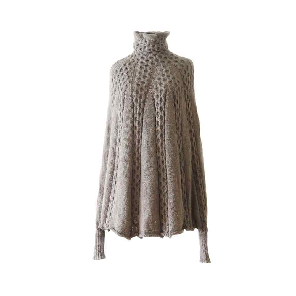 2234a9815690 Fine hand knitted poncho   cape with cable pattern