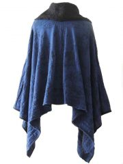 PFL Knitwear Poncho / cape jaqcuard pattern blue - black and boucle-knit collar 100% alpaca