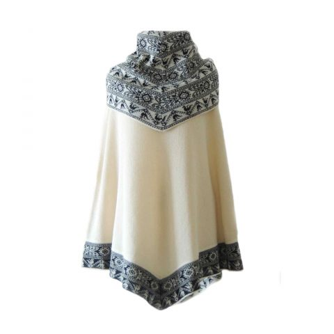 Poncho / cape, 100% baby alpaca with big cowl collar creme with black ethnic pattern