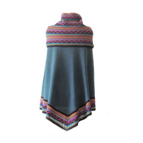 Poncho / cape, 100% baby alpaca blue, with multicolor striped big cowl collar, women's knitted cape
