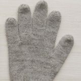 Winter gloves, baby alpaca reversible double knitted extra winter warm women's gloves, men's gloves gray - creme