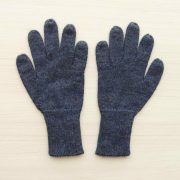 Winter gloves, baby alpaca reversible double knitted extra winter warm women's gloves, men's gloves jeans blue - white