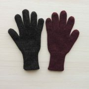 Winter gloves,  alpaca reversible double knitted extra winter warm  women's gloves, men's gloves  dark gray - wine red / blue