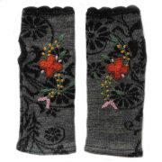 Wirst warmers Fine knitted, fingerless gloves with embroidered flower detail, alpaca blend