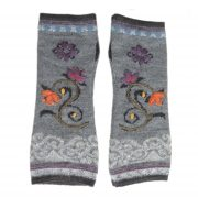 Wirst warmers fine knitted, fingerless gloves with embroidered flower detail,alpaca blend
