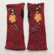 Wirst warmers, knitted fingerless gloves with embroidered flower detail, boucle alpaca blend
