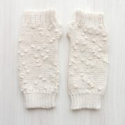 Wirst warmers, knitted fingerless gloves with embroidered details, alpaca blend