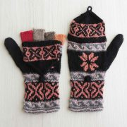 Convertible fingerless mittens 100% alpaca hand knitted multi color natural dyes, fingerless gloves