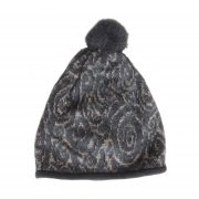 Women's beanie / hat  black - light taupe  with pom pom and embroidered details, alpaca blend