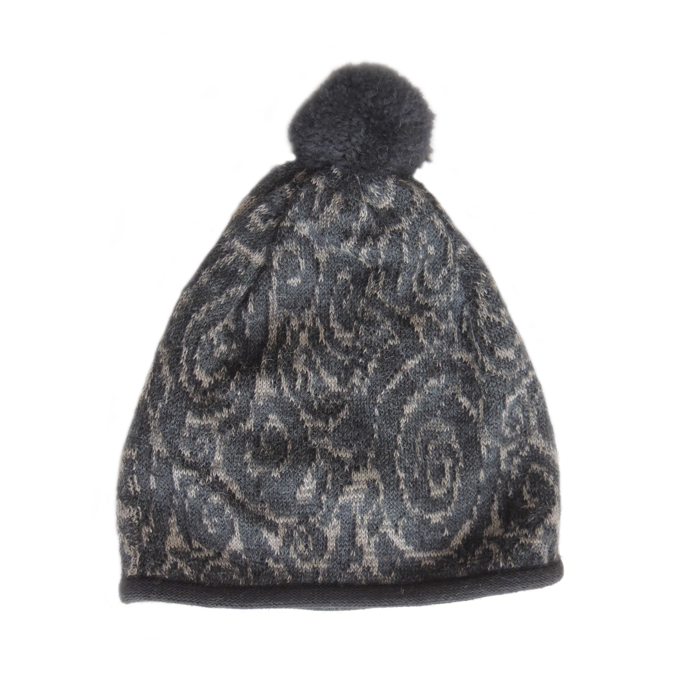 cd353a10 Women's beanie / hat black – light taupe with pom pom and embroidered  details, alpaca blend