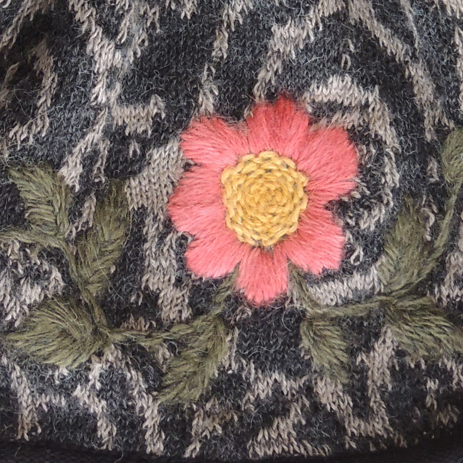 49d73dd9 Women's beanie / hat black - light taupe with pom pom and embroidered  details, alpaca