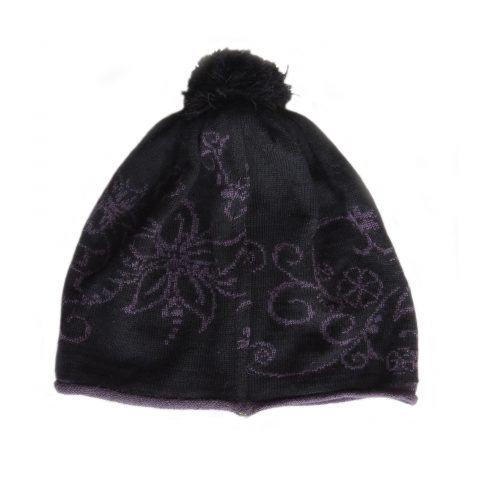 Women's beanie / hat black - purple with pom pom and embroidered flower details, alpaca blend