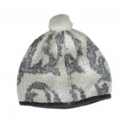 Women's beanie / hat white - gray with pom pom and embroidered details, boucle alpaca blend