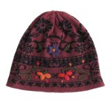 Women's beanie / hat old rose - black jacquard knitted reversible with embroided flower details, alpaca blend
